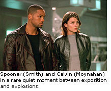 Spooner and Calvin share a moment between exposition and explosions